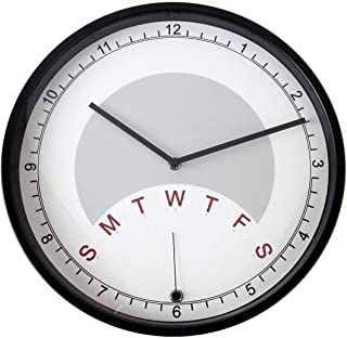 Lily's Home Day Clock Wall Clock Indicating Day of The Week   A Fun Retirement Gift – Large 13 3/4 Inch Diameter (Black)