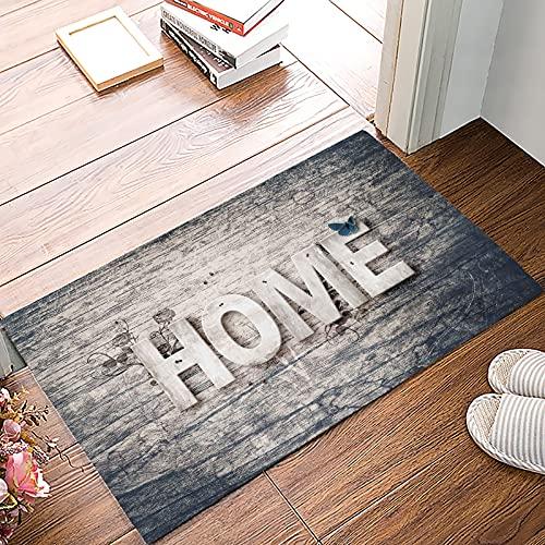 OPLJ Alfombra Antideslizante para el hogar con Flor Retro de Grano de Madera, Alfombra para Dormitorio, Cocina, Alfombra para baño, Felpudo para el hogar para Puerta de Entrada, Alfombra A1 60x90cm