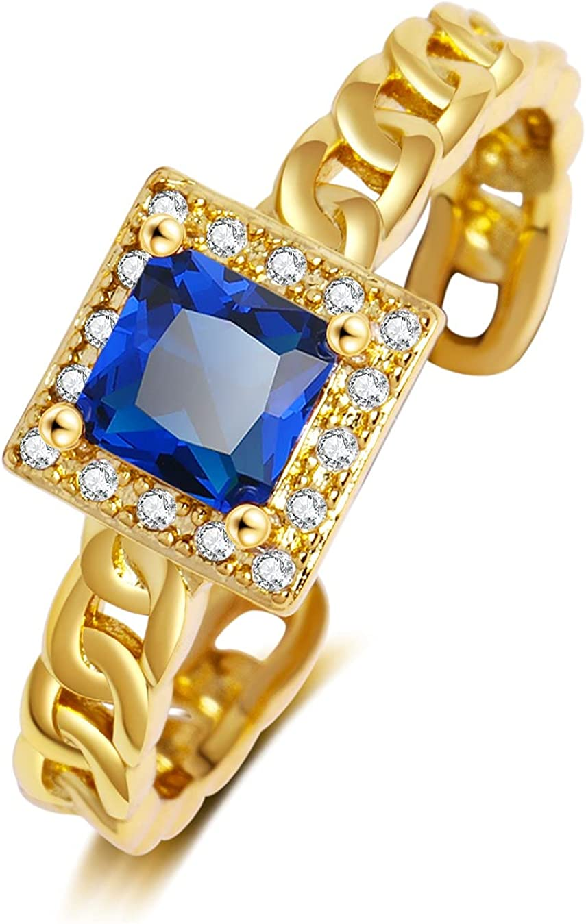 K.K. 18k Gold Plated Adjustable Cubic Zirconia Band Ring