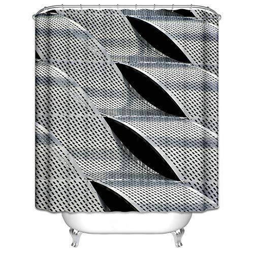Ukilook Cortina de ducha con ganchos para baño, tira de acero divertida, cortina de ducha de tela de poliéster, tratamiento repelente al agua, decoración de baño en el hogar, plata 91 x 182 cm