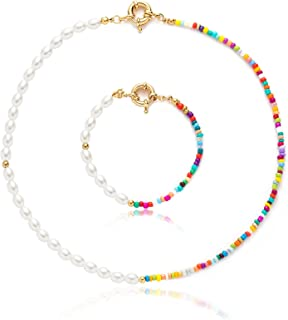 Pearl Beaded Necklace Colorful Necklace Bohemian Beaded Necklaces for Women Y2K Necklace Hand Made Pearl Choker Necklace f...