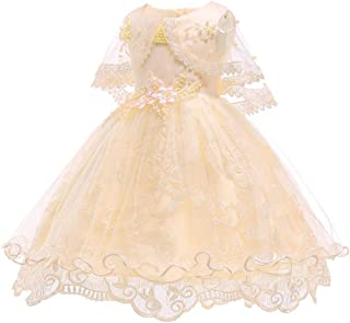 KINDOYO Newborn Girls Ruffle Tutu Christening Dresses - Shawl Kids Flower Princess Wedding Dress Photo Shoot Ball Gown, Gold, 24M