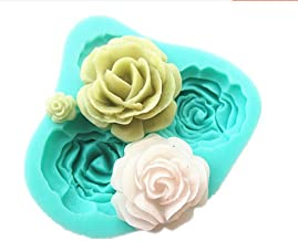 4PCS 3D Silicone Rose Fondant Cake Mold Home Kitchen Baking Sculpting & Modeling Tools Cake Decoration, Assorted color (G reen or Pink)