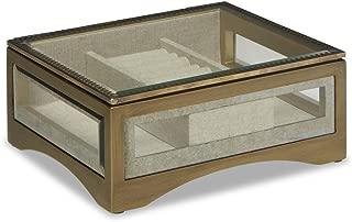 Jaclyn Smith Glass & Brushed Brass-Tone Jewelry Box