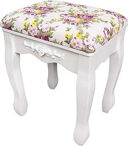 CCLIFE Tocador con cajones y taburete tocador de maquillaje mesa de maquillaje Tocador con taburete y espejo, Color:011-Blanco