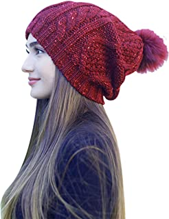Daisy Del Sol Women's Warm Chunky Cable Knit Soft Faux Fur Pom Pom Shimmer Sequin Sparkle Winter Beanie Bobble Hat