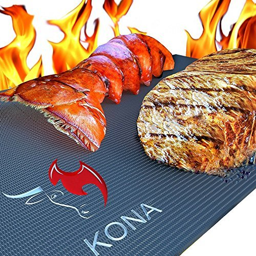 Tapis pour gril Barbecue KONA - Plaques ultra-résistantes et antiadhésives supportant 600 degrés (lot de 2) -...