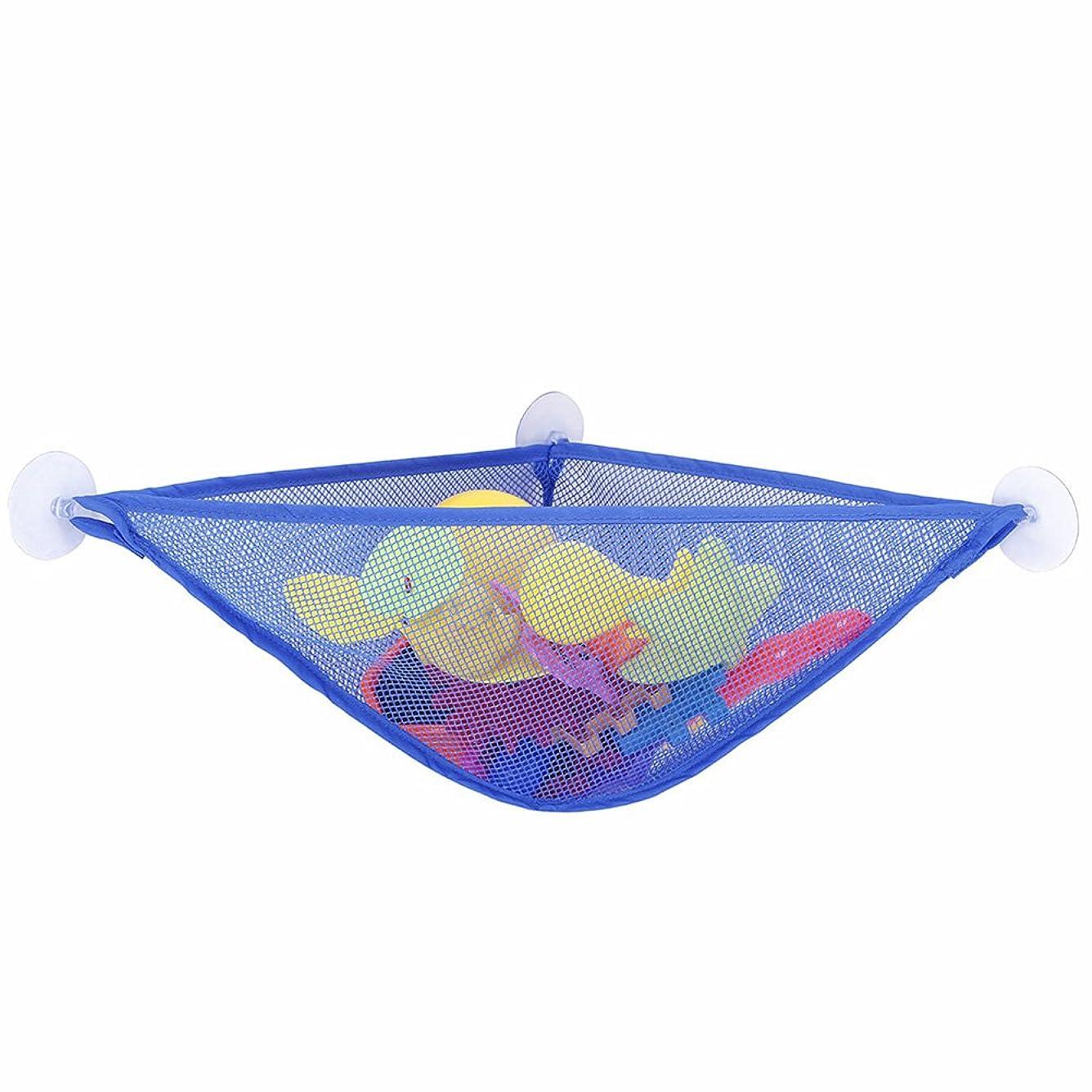 宝毎年謎OUNONA おもちゃハンモック 玩具収納ネット お風呂 室内 ヌイグルミ 人形 帽子 ボール 収納用ネット 吊り下げ型 吸盘式 多用途 オシャレ(青)
