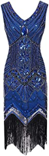 RkBaoye Women's Retro Bodycon Fringe V Neck Fashional Sequin Dress Top