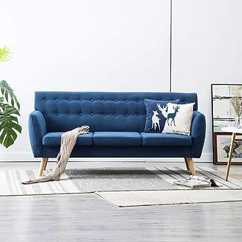 Festnight 9-Sitzer-Sofa  9er Stoff Couch  Wohnzimmer Stoffsofa   Polstersofa  Loungesofa  Blau Stoffbezug mit MDF-Rahmen 9x9x9 cm