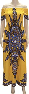 African dashiki cotton petal sleeve mustard dress