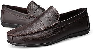 メンズシューズ メンズシューズ モカシン 革靴 軽量 ローファー ストラップデコレーション スリッポン レジャー ペニー ソフトラバーソール 通気性 (Color : 褐色, サイズ : 28 CM)