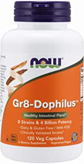 NOW Supplements, Gr8-Dophilus™with 8 Strains & 4 Billion Potency, Shelf Stable, 120 Veg Capsules