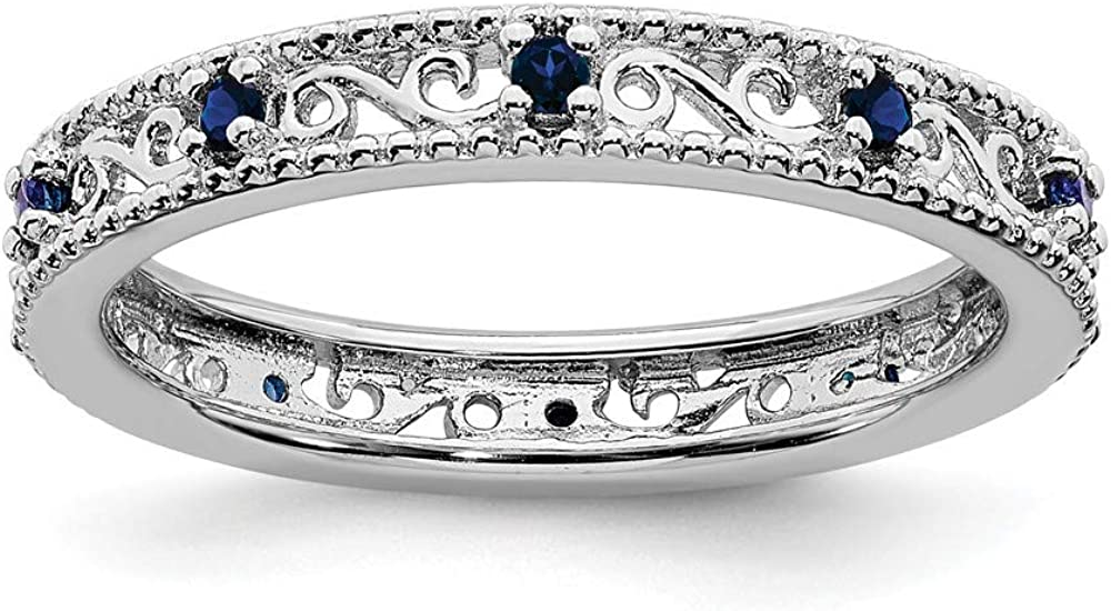 Solid service 925 Sterling Silver Stackable Septem Sapphire Created Limited time cheap sale Blue