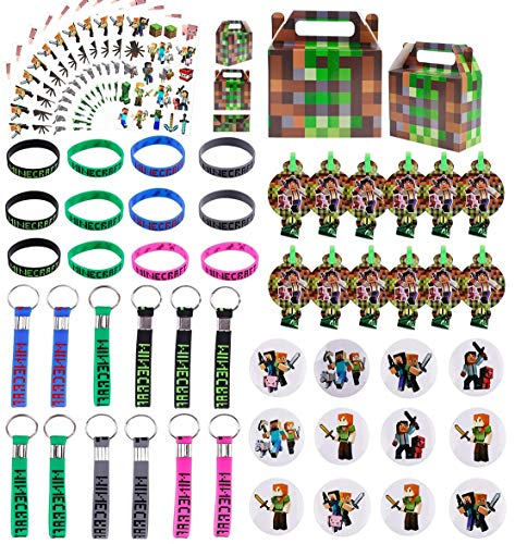 Andzerolief Pixel Miner Birthday Party Favors Supplies- (72 Pcs) Keychains, Wristbands, Badges, Temporary Tattoos, Whistles, Goodie Bags for Classroom Rewards Carnival Christmas Prizes Gifts for Kids Boys Girls - Serve 12 Guests