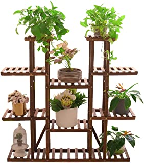 UNHO Wood Plant Stand Ladder Shelf Large Plant Pot Holder Herb Planter Flower Rack for Indoor Outdoor Garden Patio Balcony...