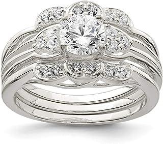 Anello di fidanzamento da donna in argento Sterling lucido CZ AccentCZ
