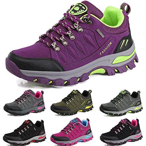 BOLOG Outdoor-Halbschuhe, Wanderschuhe, rutschfeste Kletterschuhe, leicht, atmungsaktiv, Trekkingschuhe für Damen und Herren, Violett - violett - Größe: 38 EU