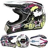 ZXJJD Casco De Motocross, Casco Integral De MTB, con Gafas, Guantes, Protector Facial, Certificación Ece, Casco De Motocicleta Todoterreno para Adultos, Casco Anticolisión B XL