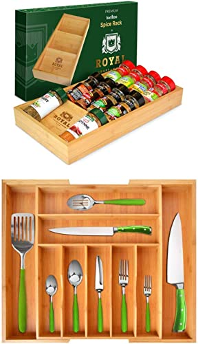 wholesale Bamboo Kitchen Drawer high quality Organizers - 4-Tier Bamboo Spice Rack Organizer for Drawer and Expandable Silverware Organizer/Utensil Holder online and Cutlery Tray sale