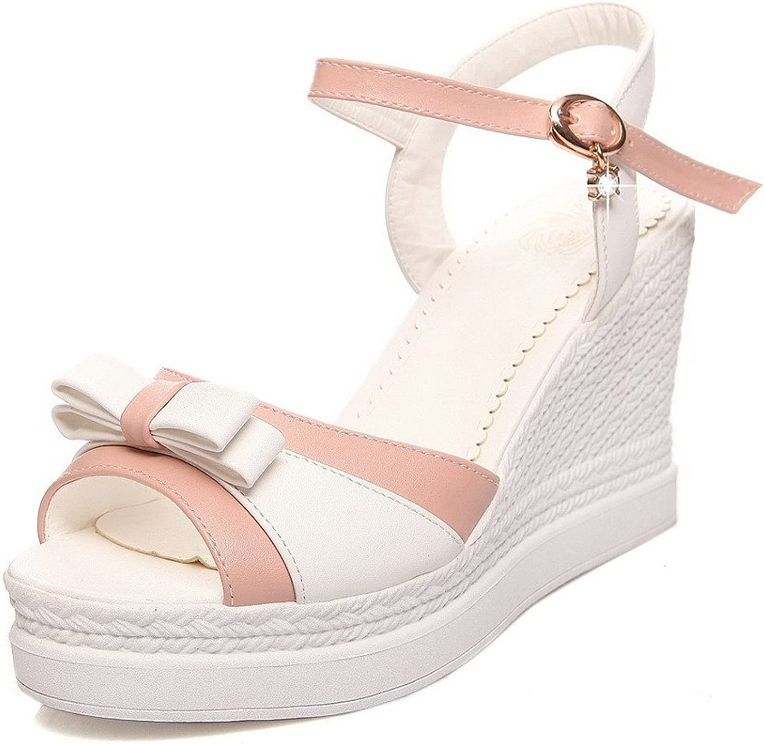 AllhqFashion Women's Pu High Heels Open Toe Assorted color Buckle Platforms & Wedges
