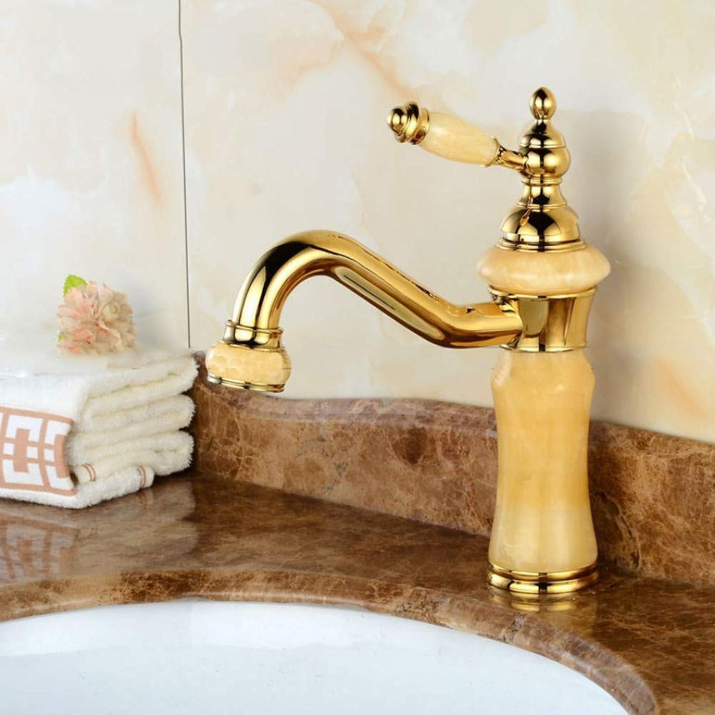 Lddpl New Deck Mount Brass and Jade Faucet Bathroom Basin Faucet Mixer Tap pink gold Sink Faucet Bath Basin Sink Faucet