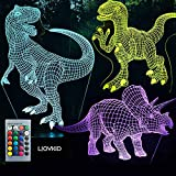 3 Pattern Dinosaur 3D Lamp - with Remote Control Dinosaur Gifts (7 Colors)