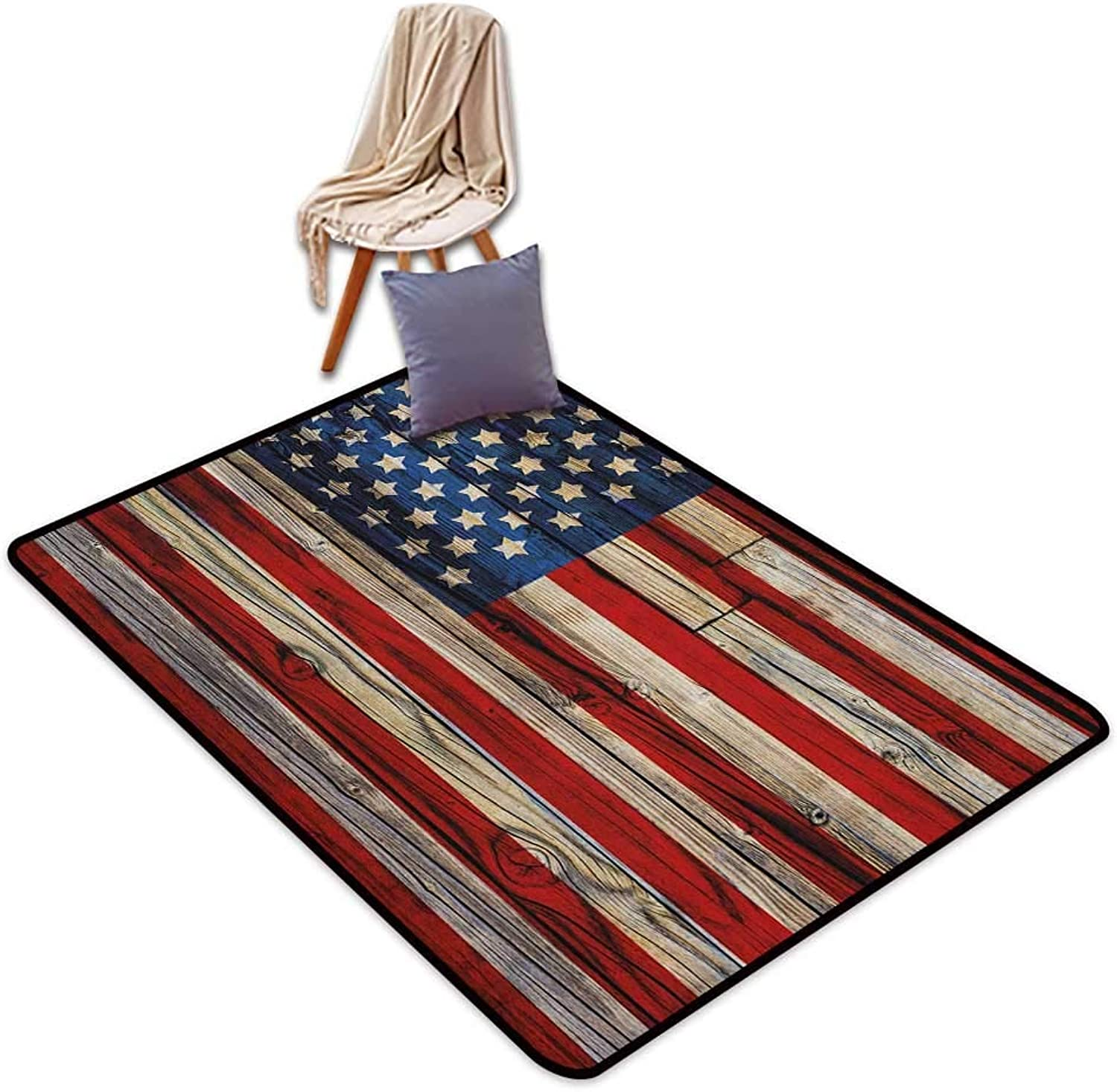 Girl Bedroom Rug 4th of July Wooden Planks Painted as United States Flag Patriotic Country Style Door Rug for Internal Anti-Slip Rug W6'xL7'