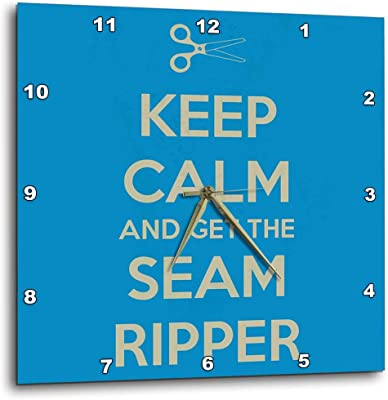 3dRose dpp_172003_1 Keep Calm and Get The Seam Ripper. Blue and White-Wall Clock