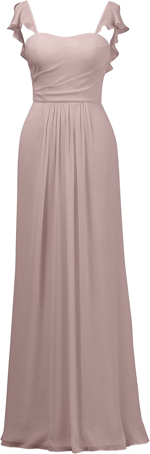 Alicepub Ruffles Bridesmaid Dress with Cap Sleeve Formal Evening Party Prom Gown