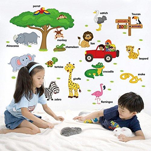 Grands Enfants Éducatifs Animaux Stickers Muraux Autocollants Décor À La Maison Art pour Pépinière Chambre de Bébé Chambre des Enfants