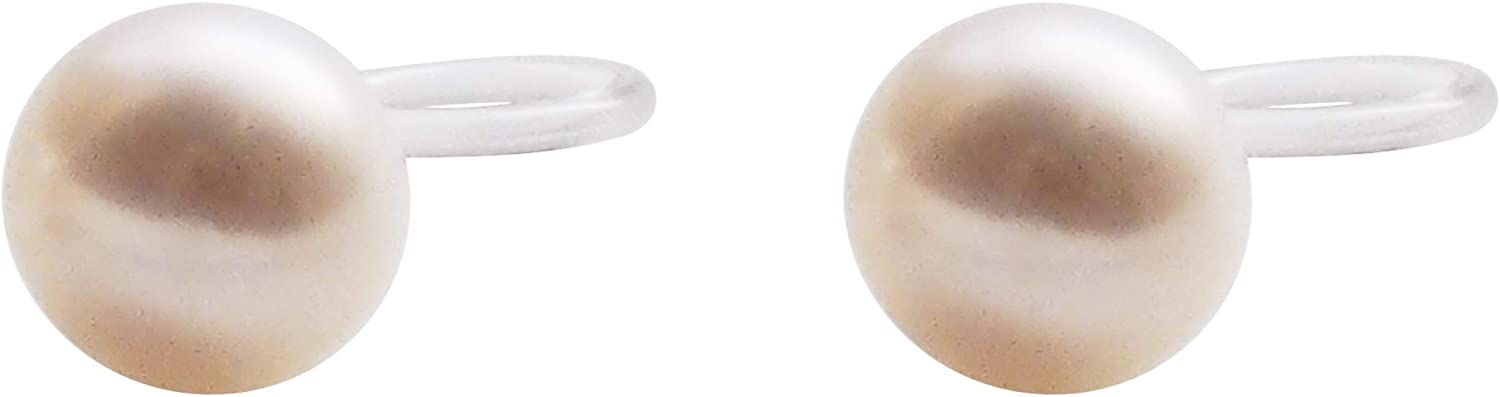 Miyabi Grace Freshwater Pearl Invisible Clip On Earrings Non Pierced Ivory Pearl Clip On Stud Earrings For Women
