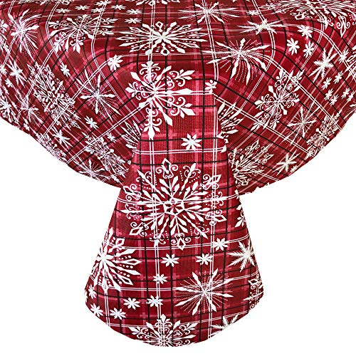 Newbridge Snowfall Snowflake Plaid Christmas Print Vinyl Flannel Backed Tablecloth, Contemporary Snowflake Design Easy Care Wipe Clean Xmas Tablecloth, 52 Inch x 52 Inch Square, Red