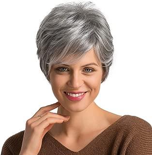 Emmor Short Grey Human Hair Wigs for Women Natural Pixie Cut Wig, Daily Hair