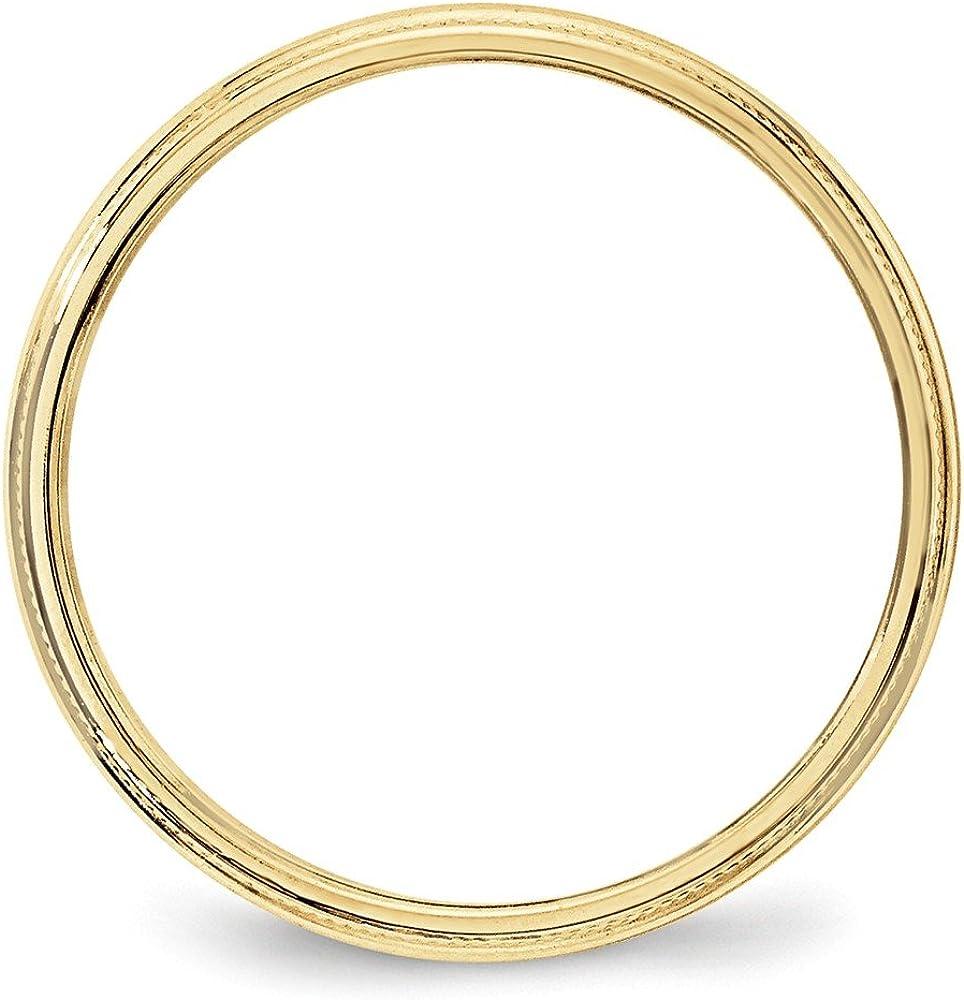 10k Yellow Gold 3mm Milgrain Plain Classic Dome Wedding Band Ring