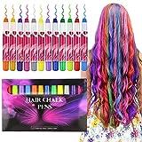 Tinte para el cabello Buluri Pastel de pelo de 12 colores, Tinte para cabello no tóxico, Tinte Temporal para la edad 4 5 6 Plus Girls Boys, regalos perfectos para el cumpleaños de Navidad (12 Colores)