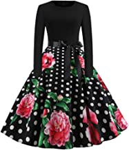 TOTOD Vintage Dress for Women, 1950s Elegant Lace O Neck Halloween Print Costume Fashion Party Swing Dresses