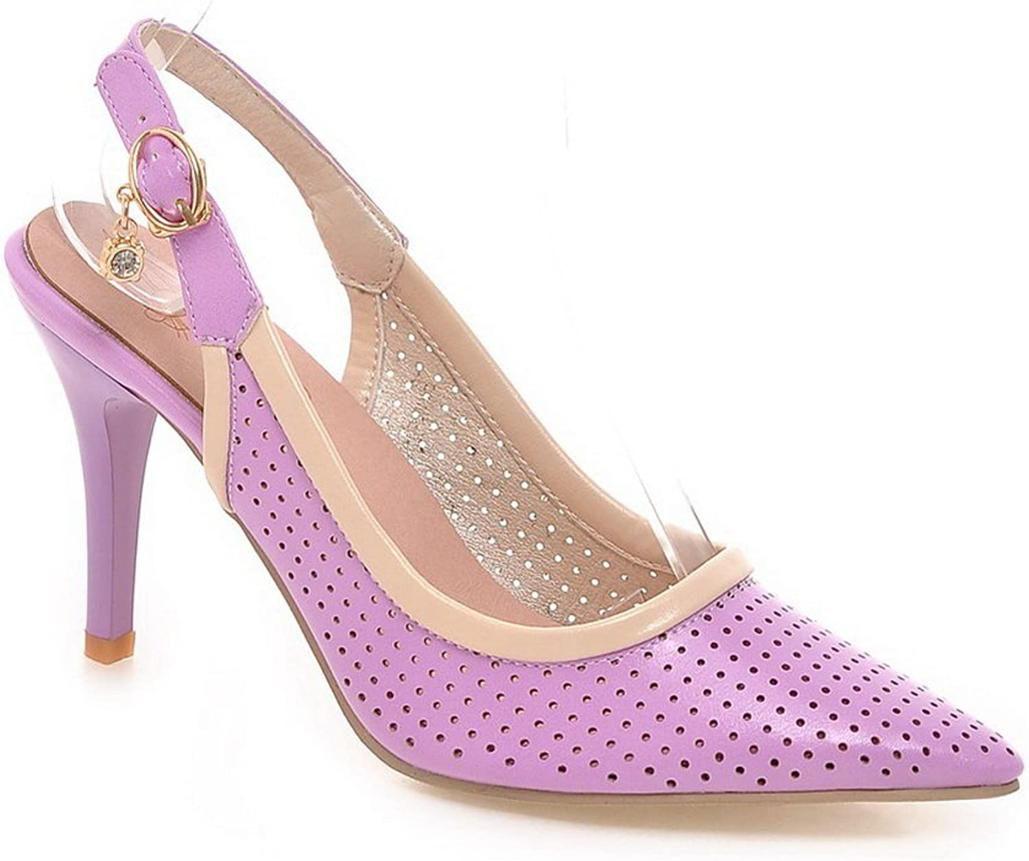 1TO9 Ladies Studded Rhinestones Metal Buckles Outdoor Purple Polyurethane Pumps-shoes - 7.5 B(M) US