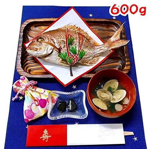 お食い初め 鯛 はまぐり 歯固め石 セット 600g 敷紙 鯛飾り 祝い箸 天然真鯛 焼き鯛 お祝い 料理 蛤 祝鯛 冷蔵