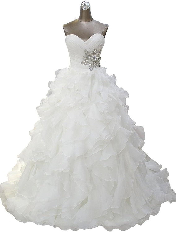 DianSheng Women's Ruffle Laces Aline Wedding Dress Ball Beach Bridal Gown CK307