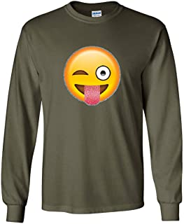 Wink Emoji Long Sleeve T-Shirt Glitter Cute Smiley Face Emoticon Pop Culture Tee