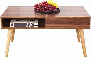 Perline ローテーブル センターテーブル 幅80cm 収納付きし コーヒーテーブル 引き出し付き リビングテーブル 天然木の脚 完成品 簡単なおしゃれ (ダークブラウン)