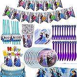 Babioms 75Pcs Cumpleaños Vajilla, Plato, Servilleta de Papel, Cuchillo, Tenedor, Taza, Mantel, Paja, Adorno de Pastel y Bandera para Letras, Vajilla de Fiesta -Tiene Apacidad para 10 personas