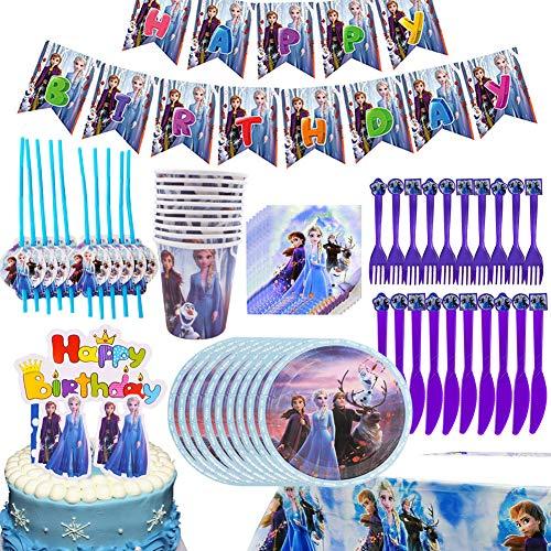 BAIBEI 75Pcs Cumpleaños Vajilla, Plato, Servilleta de Papel, Cuchillo, Tenedor, Taza, Mantel, Pajas, Adorno de Pastel y Bandera para Letras, Vajilla de Fiesta Temática - 10 personas