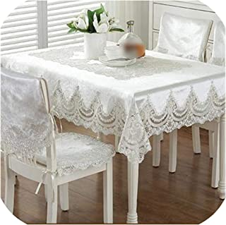 Tablecloth Lace Edge Dustproof Covers for Table Chair Cover Home Party Table Cloths,Light Rice,90x150cm