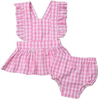 d577848022d7 SSZZoo Toddler Baby Girls Summer Outfits Sleeveless Ruffle Backless Dress  Tops+ Shorts Plaids Set