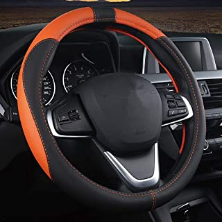Pahajim Lenkradabdeckung Lenkradhülle Anti Rutsch Atmungsaktiv Lenkrad Abdeckung Hand nähen Spleißen Lenkradbezug aus Mikrofaser Leder 38cm (Schwarz Orange)