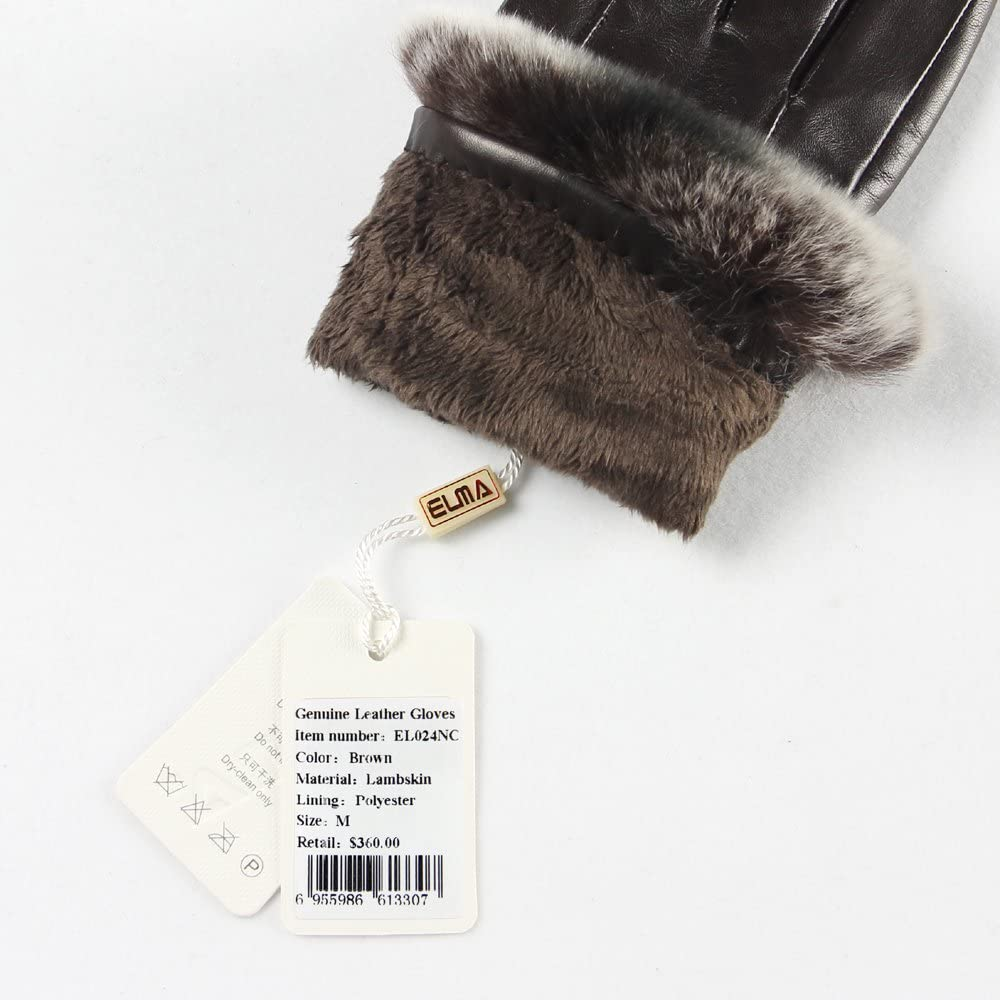 ELMA Lady's Nappa Leather Super Warm Gloves with Luxurious Rabbit Fur Cuff Gold Plated Logo