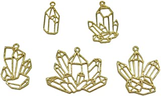 5Pcs Gold Cluster Crystal Stone Open Back Bezel Pendant for UV Resin Crafts Jewelry Making