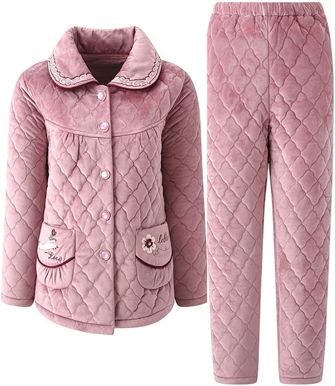 LeeQn Winter Ladies Lapel Comfort Thick Warm Flannel Pajamas Suit Nightclothes